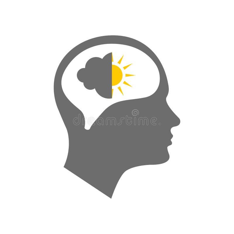 Icône principale pour le trouble bipolaire illustration stock