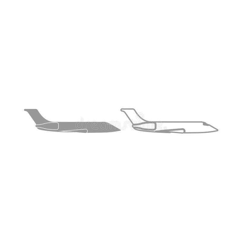 Icône privée d'avion Ensemble de gris illustration stock