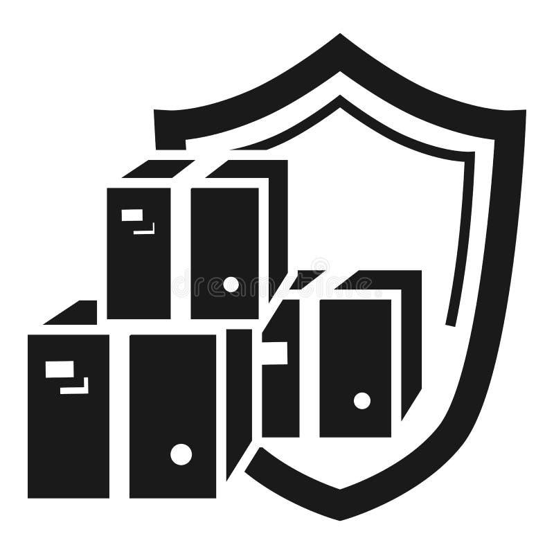 Icône protégée de la livraison de colis, style simple illustration de vecteur