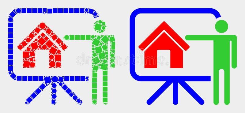 Icône publique de rapport de point et d'agent immobilier plat de vecteur illustration libre de droits