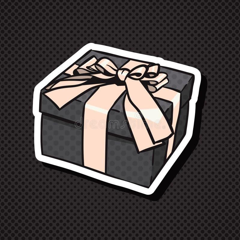 Icône réaliste de boîte-cadeau avec l'arc et ruban sur le fond noir illustration de vecteur