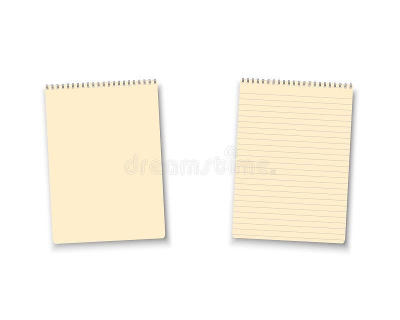Icône réaliste de manuel de bloc-notes de blanc de vecteur Ensemble de calibre de bloc-notes de vecteur illustration stock