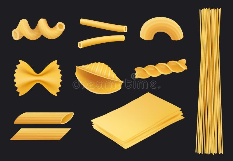 Icône réaliste de pâtes italiennes Le fusilli traditionnel de macaronis de spaghetti de nourriture faisant cuire les ingrédients  illustration de vecteur