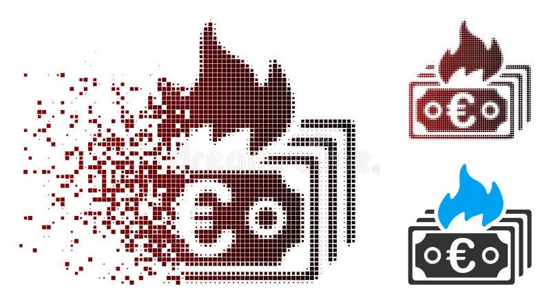Icône réduite en fragments de billets de banque de brûlure tramée de pixel euro illustration stock
