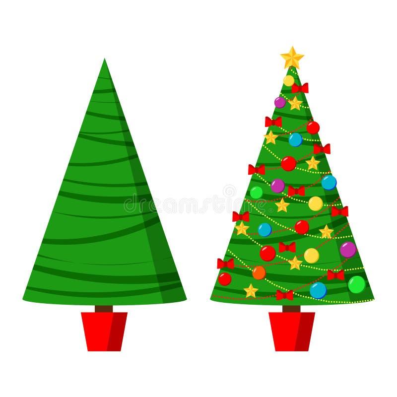 Icône réglée avec le spruse vert et l'arbre de Noël décoré dans un pot avec l'étoile, les boules de décoration et les arcs illustration stock