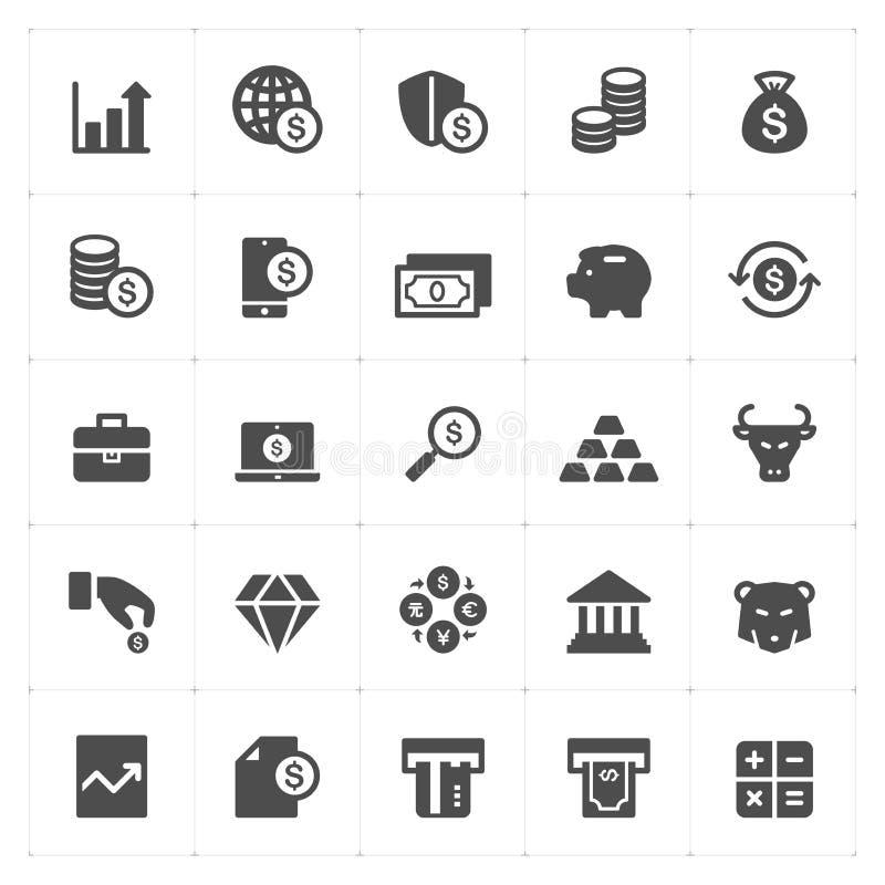 Icône réglée - icône d'argent et de solide de finances illustration libre de droits