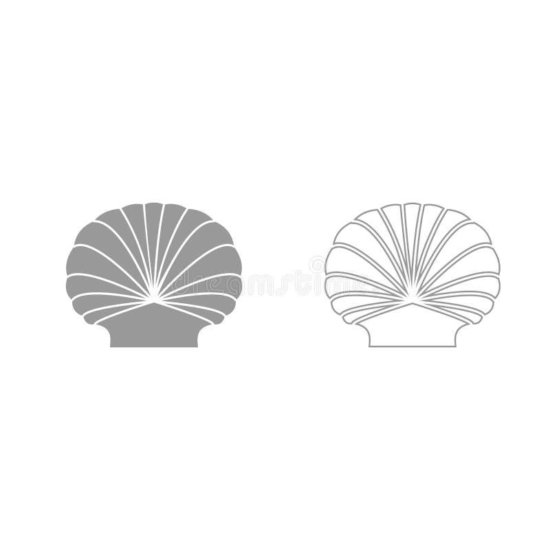 Icône réglée de gris de Shell illustration de vecteur