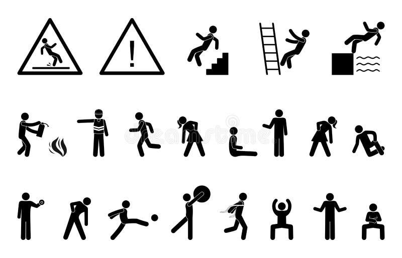 Icône réglée de personnes, noir de pictogramme d'action, silhouettes humaines de chiffre de bâton illustration libre de droits