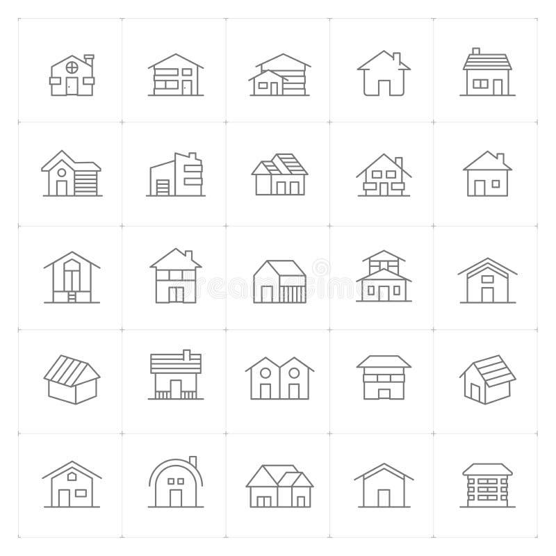 Icône réglée - ligne mince à la maison détail élevé illustration stock