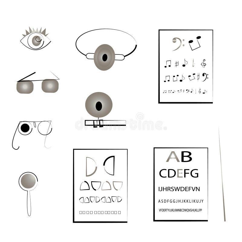 icône réglée pour l'ophtalmologiste d'oculiste illustration libre de droits