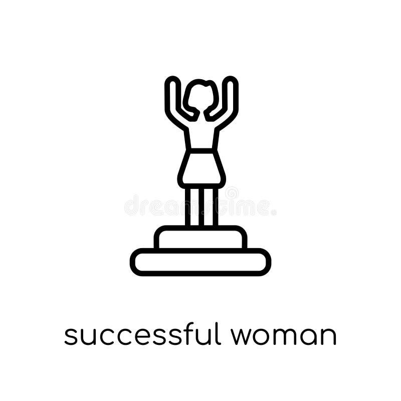 Icône réussie de femme Vecteur linéaire plat moderne à la mode Successf illustration libre de droits
