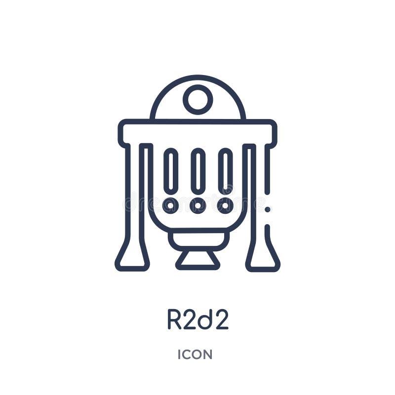 Icône r2d2 linéaire de collection d'ensemble de cinéma Ligne mince vecteur de r2d2 d'isolement sur le fond blanc illustration r2d illustration de vecteur