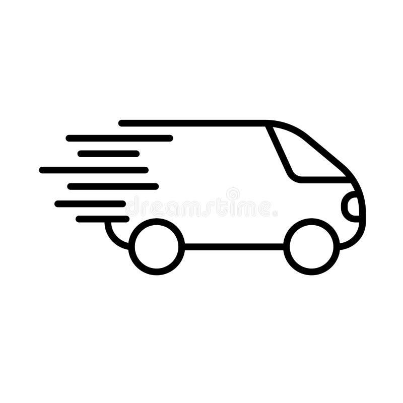 Icône rapide d'expédition, simbol de camion de livraison plat illustration de vecteur