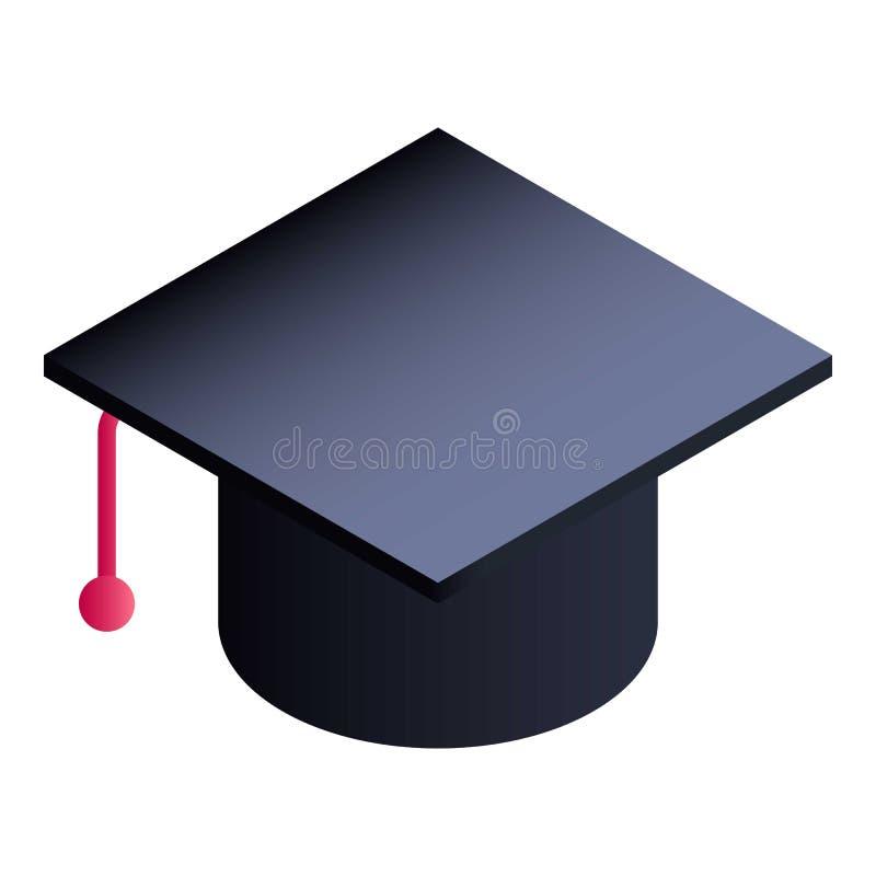 Icône reçue un diplôme de chapeau, style isométrique illustration de vecteur