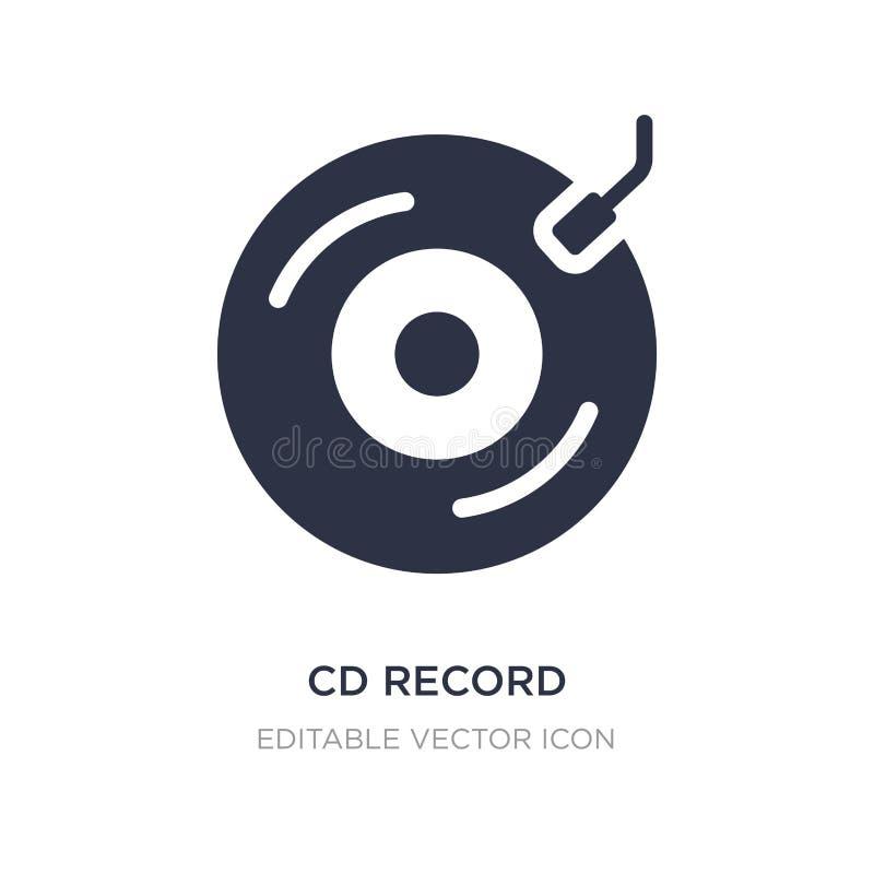 icône record de Cd sur le fond blanc Illustration simple d'élément de notion générale illustration de vecteur