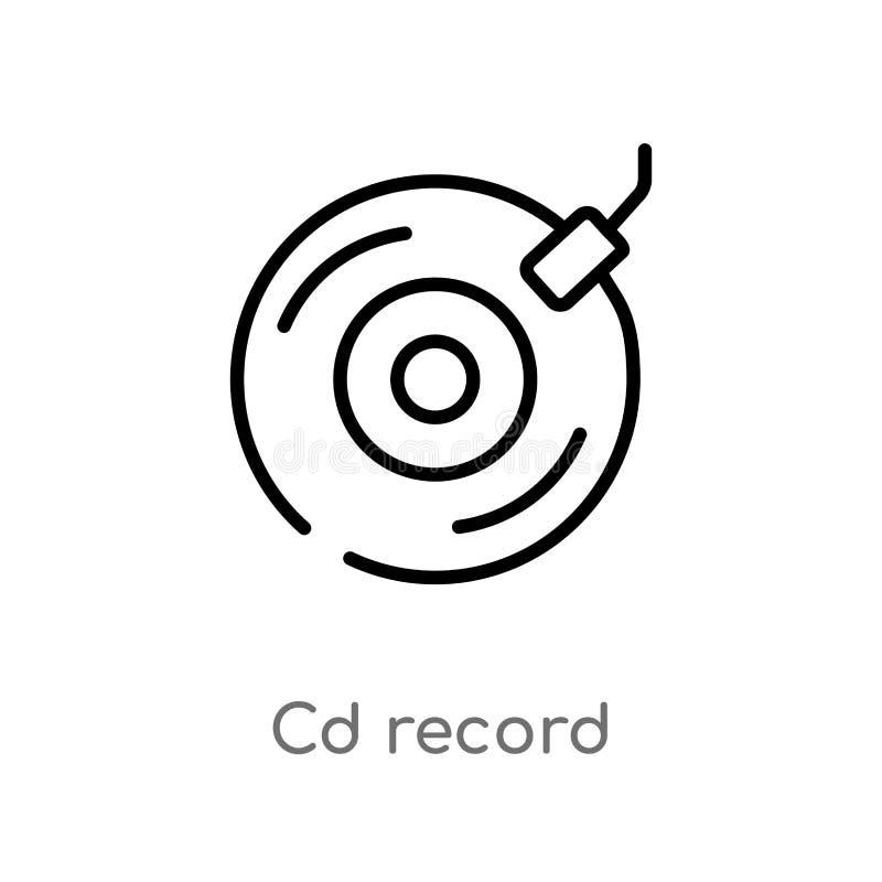 icône record de vecteur de Cd d'ensemble ligne simple noire d'isolement illustration d'élément de notion générale Cd editable de  illustration libre de droits