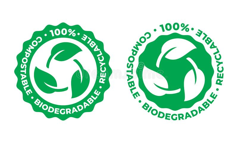 Icône recyclable biodégradable et compostable de vecteur bio feuille recyclable de vert de paquet de 100 pour cent illustration de vecteur