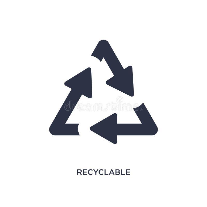 icône recyclable sur le fond blanc Illustration simple d'élément de concept d'écologie illustration libre de droits
