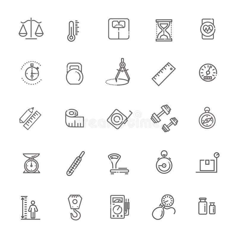 Icône relative de mesure de Web réglée - ensemble d'icône d'ensemble, vecteur, ligne mince collection d'icônes illustration de vecteur
