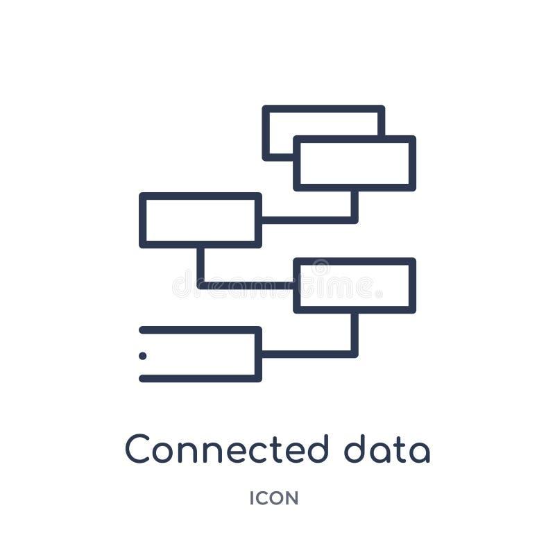 icône reliée de diagramme de flux de données de collection d'ensemble d'interface utilisateurs La ligne mince a relié l'icône de  illustration libre de droits