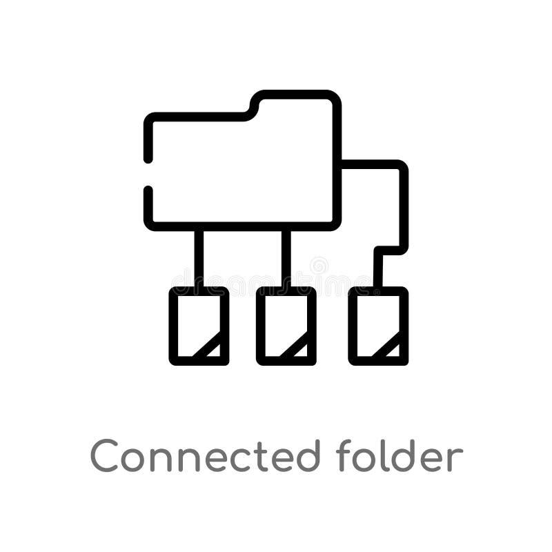 icône reliée par contour de vecteur de données de dossier ligne simple noire d'isolement illustration d'élément de concept d'ordi illustration de vecteur