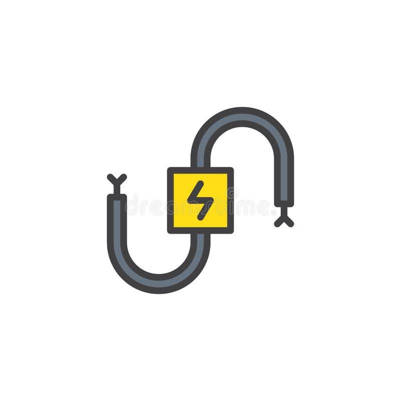 Icône remplie électrique d'ensemble de câble illustration stock