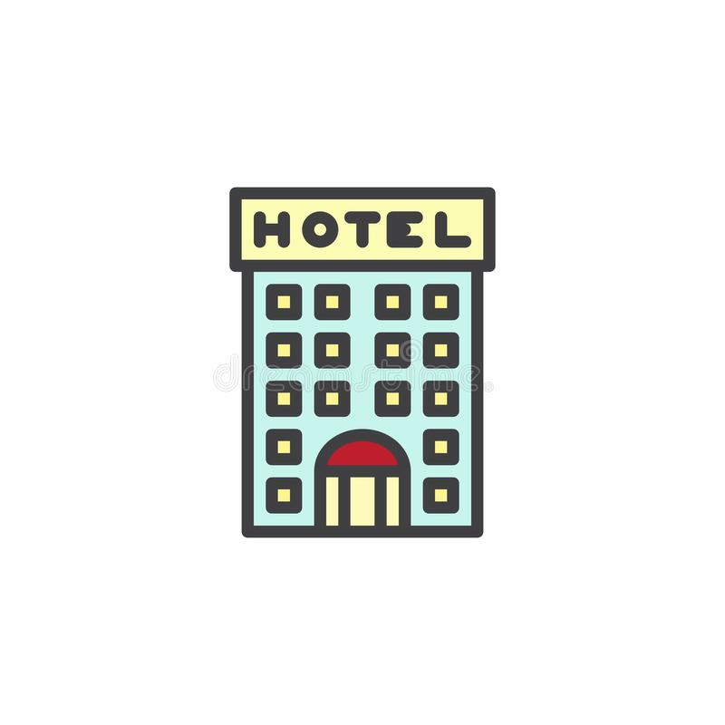 Icône remplie par bâtiment d'ensemble d'hôtel illustration libre de droits