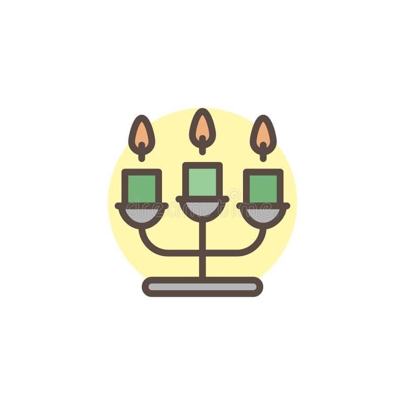 Icône remplie par chandelier d'ensemble illustration de vecteur