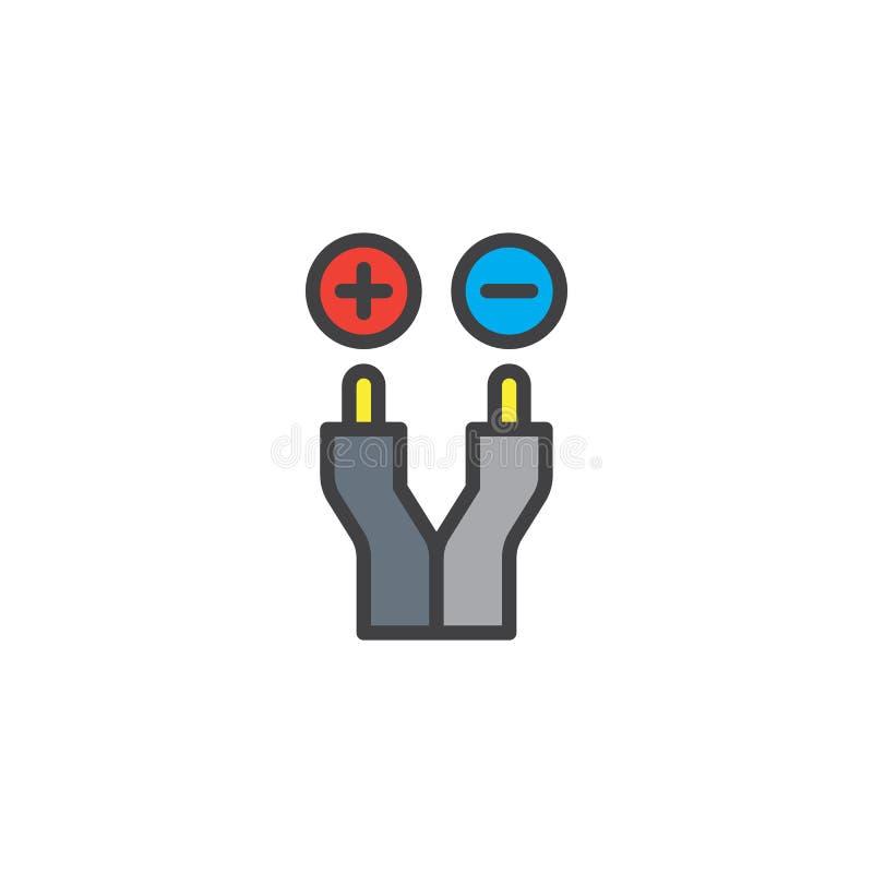 Icône remplie par fil électrique d'ensemble illustration stock