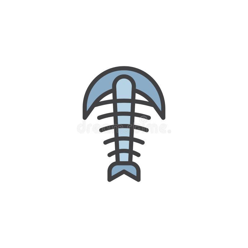 Icône remplie par fossile d'ensemble d'arthropode illustration stock