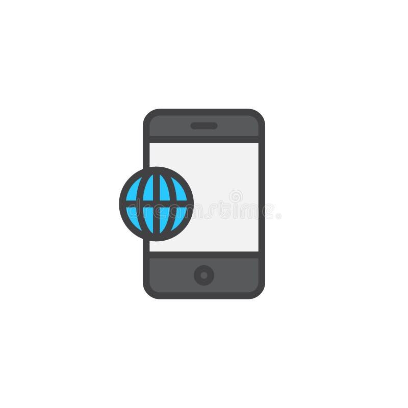 Icône remplie par globe d'ensemble du monde de téléphone illustration libre de droits
