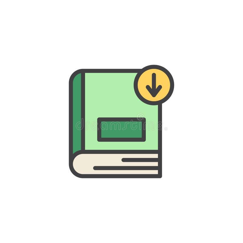 Icône remplie par téléchargement d'ensemble de livre illustration stock