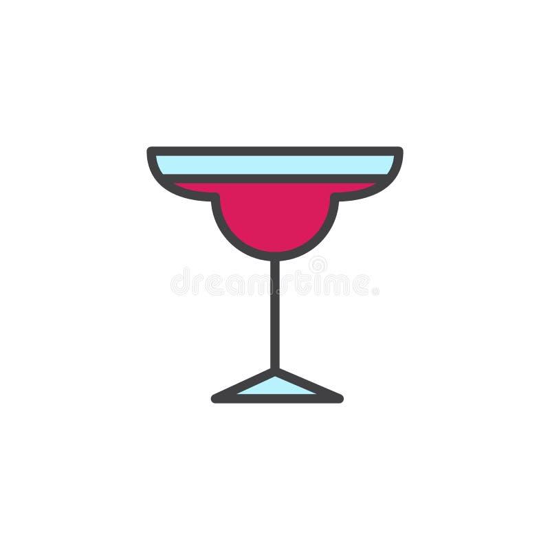 Icône remplie par verre d'ensemble de margarita de cocktail illustration stock