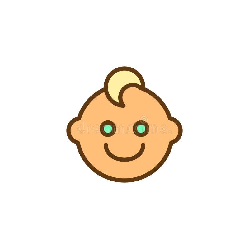 Icône remplie par visage d'ensemble de bébé garçon illustration stock