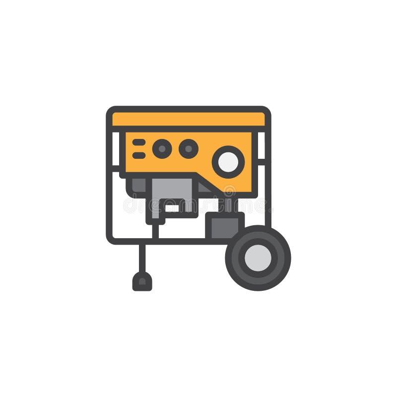 Icône remplie portative d'ensemble de groupe électrogène illustration libre de droits
