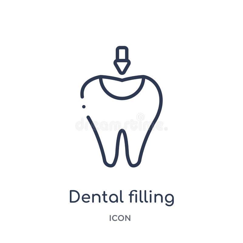 Icône remplissante dentaire linéaire de collection d'ensemble de dentiste Ligne mince icône remplissante dentaire d'isolement sur illustration libre de droits