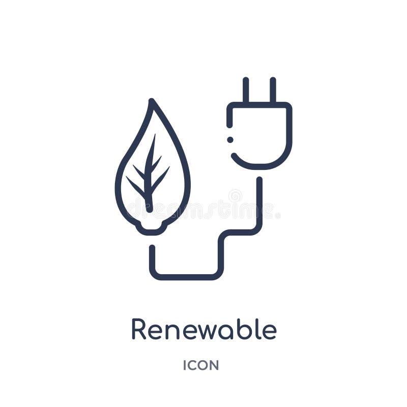 Icône renouvelable linéaire de collection d'ensemble d'écologie Ligne mince vecteur renouvelable d'isolement sur le fond blanc à  illustration de vecteur