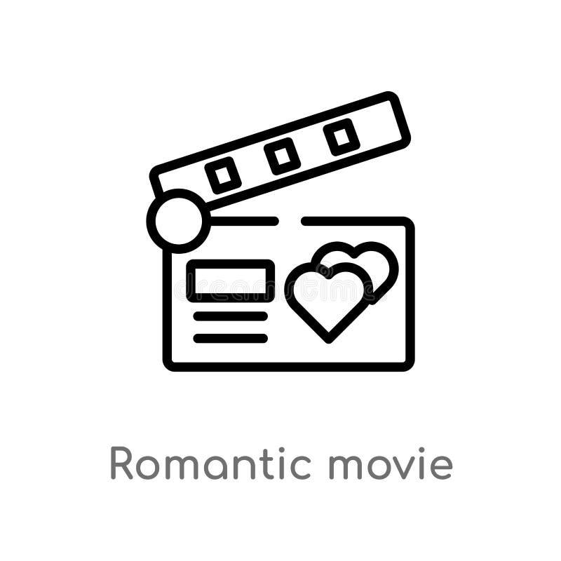 icône romantique de vecteur de film d'ensemble ligne simple noire d'isolement illustration d'élément de l'amour et du concept de  illustration de vecteur
