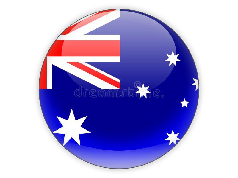 Icône ronde avec le drapeau de l'Australie illustration de vecteur