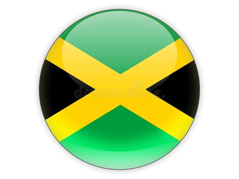 Icône ronde avec le drapeau de la Jamaïque illustration de vecteur