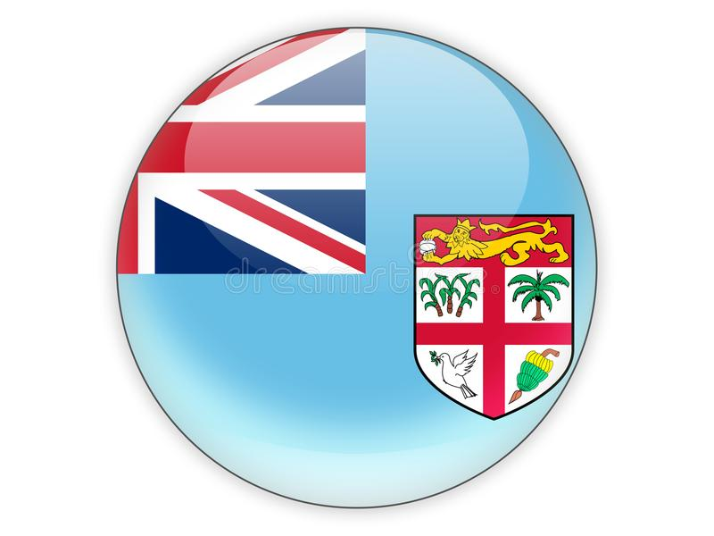Icône ronde avec le drapeau du Fiji illustration stock