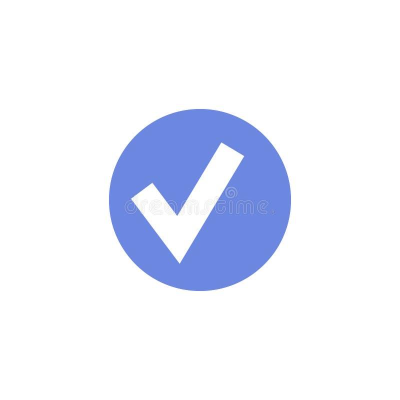Icône ronde d'art plat simple de vecteur de signe de confirmation illustration stock