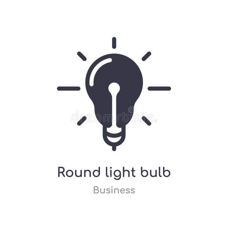 icône ronde d'ensemble d'ampoule ligne d'isolement illustration de vecteur de collection d'affaires course mince editable autour  illustration de vecteur