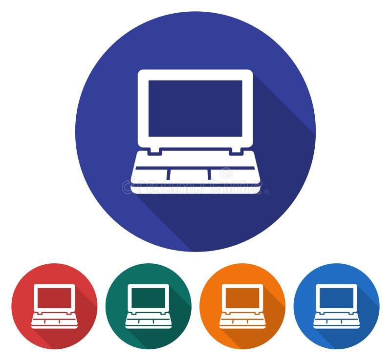 Icône ronde d'ordinateur portable illustration libre de droits