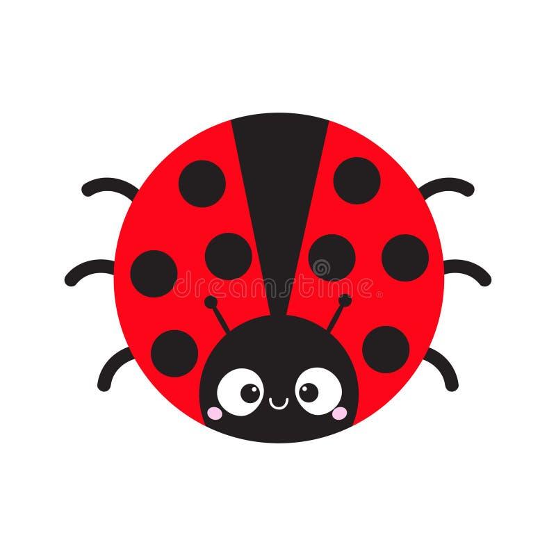 Icône ronde de bande dessinée d'insecte mignon de dame Caractère drôle de bande dessinée mignonne Visage de sourire Fond blanc D' illustration stock