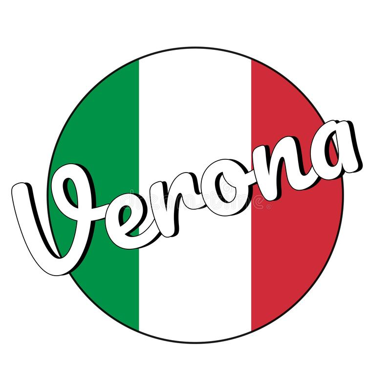 Icône ronde de bouton de drapeau national de l'Italie avec des couleurs rouges, blanches et vertes et inscription du nom de ville illustration de vecteur