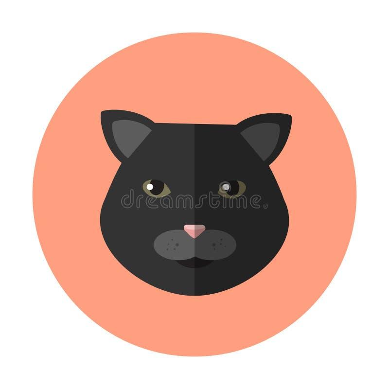Icône ronde de chat noir de vecteur sur le fond rose saumoné illustration stock