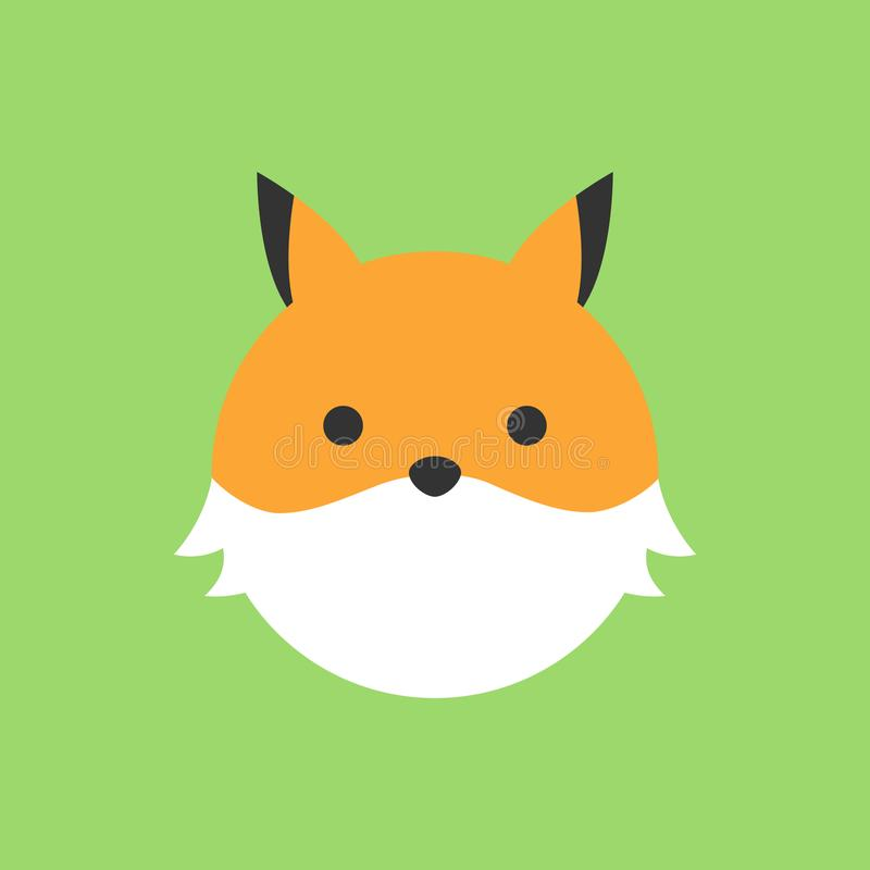 Icône ronde de vecteur de renard mignon illustration stock