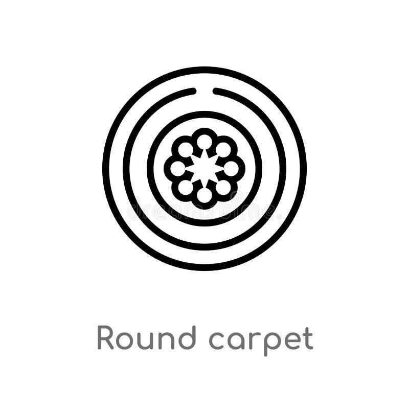 icône ronde de vecteur de tapis d'ensemble ligne simple noire d'isolement illustration d'élément de concept de cinéma Course Edit illustration libre de droits