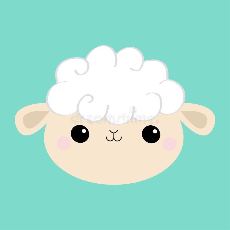 Ic?ne ronde principale de visage d'agneau de moutons Forme de nuage Caract?re de sourire dr?le de b?b? de kawaii mignon de bande  illustration de vecteur